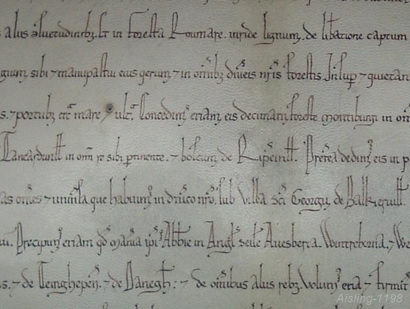 Reconstitution par dame Maëlle, Aisling-1198, d'une charte de St Georges de Boscherville